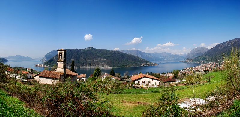 Lake Iseo in the north of Italy with the Island of Monte Isola